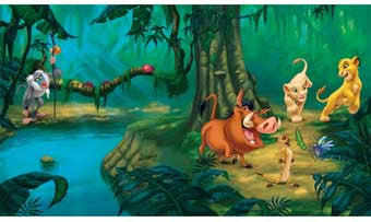 RoomMates JL1253M Lion King Chair Rail Prepasted Mural 6' x 10.5'