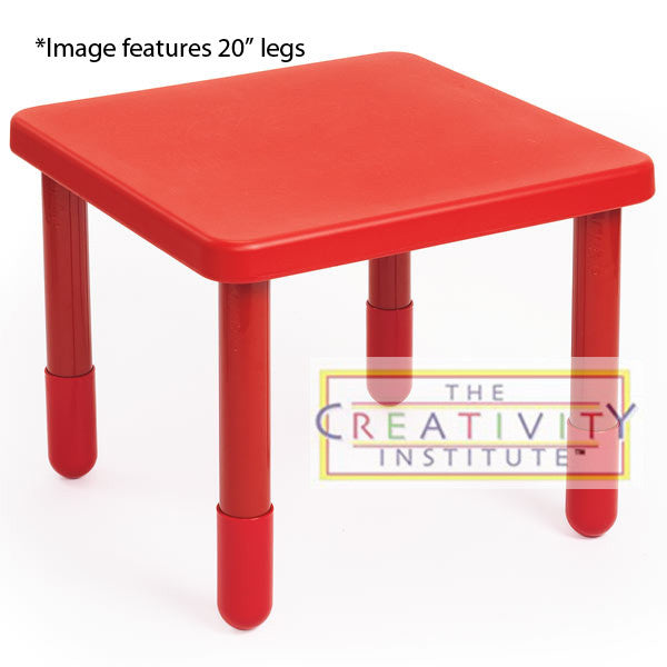 "Angeles 24"" x 24"" Small Square Value Table 14"" Legs - Candy Apple Red"