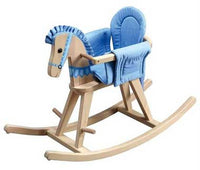 Teamson Kids TD-0002A Safari Natural Rocking Horse with Blue Pad