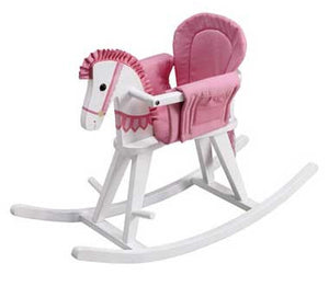 Teamson Kids TD-0003A Safari White Rocking Horse with Pink Pad