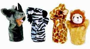 Get Ready Kids PlushPups Puppets Zoo Set #1 - Rhino & Zebra & Giraffe and Lion