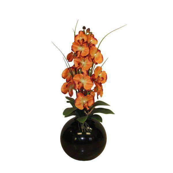 Orchid Arrangement in Mahogany Ball Vase