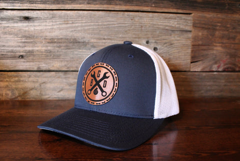 Leather Wrench Patch Hat-Mesh Back FlexFit