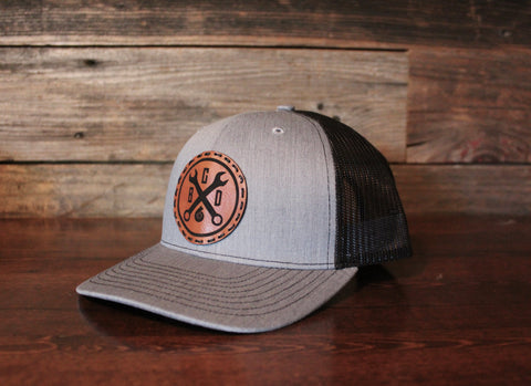 Leather Wrench Patch Hat-Mesh Back SnapBack