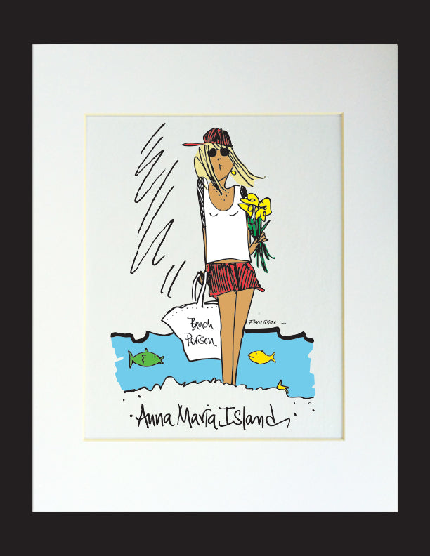 Beach Person Matted Print
