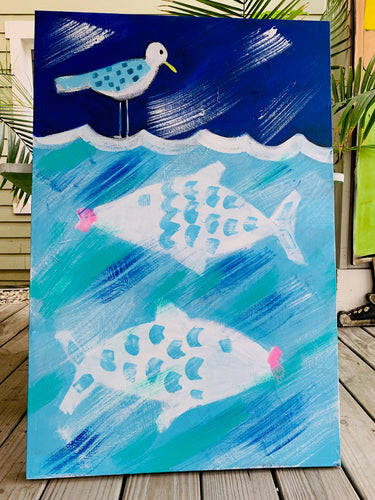 2 Fish and Bird Painting