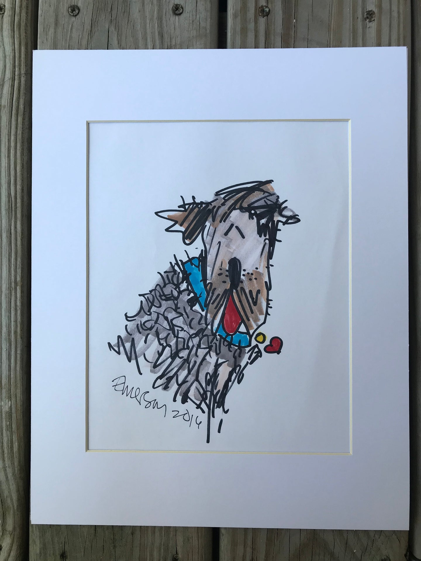 SCRUFFY DOG Original Matted Print