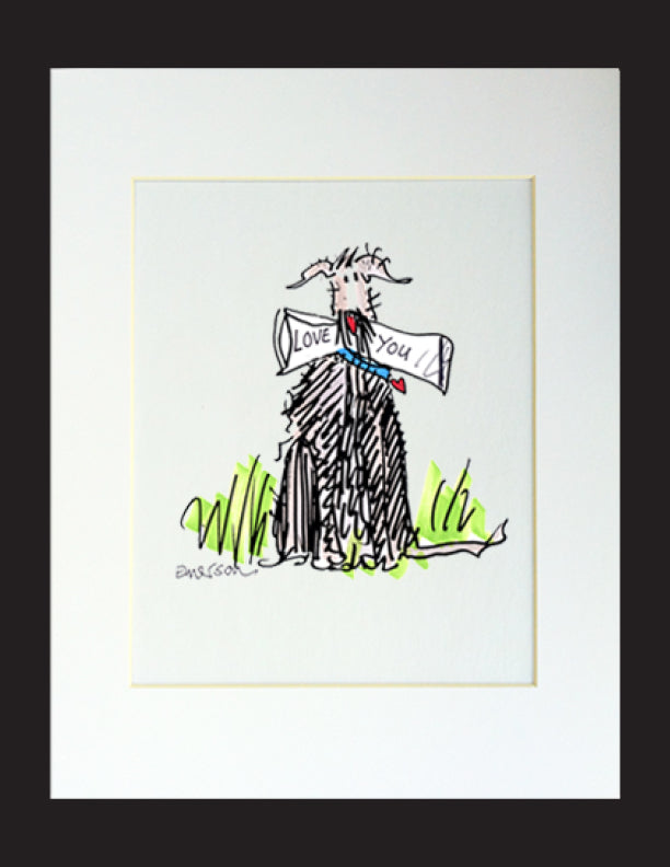 Love You Dog Matted Print