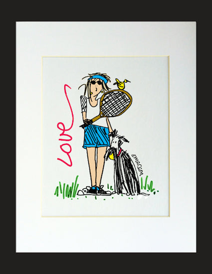 Love Tennis Matted Print