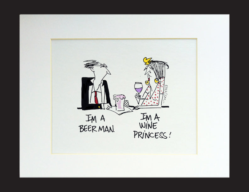 Beer Man Wine Princess Matted Print