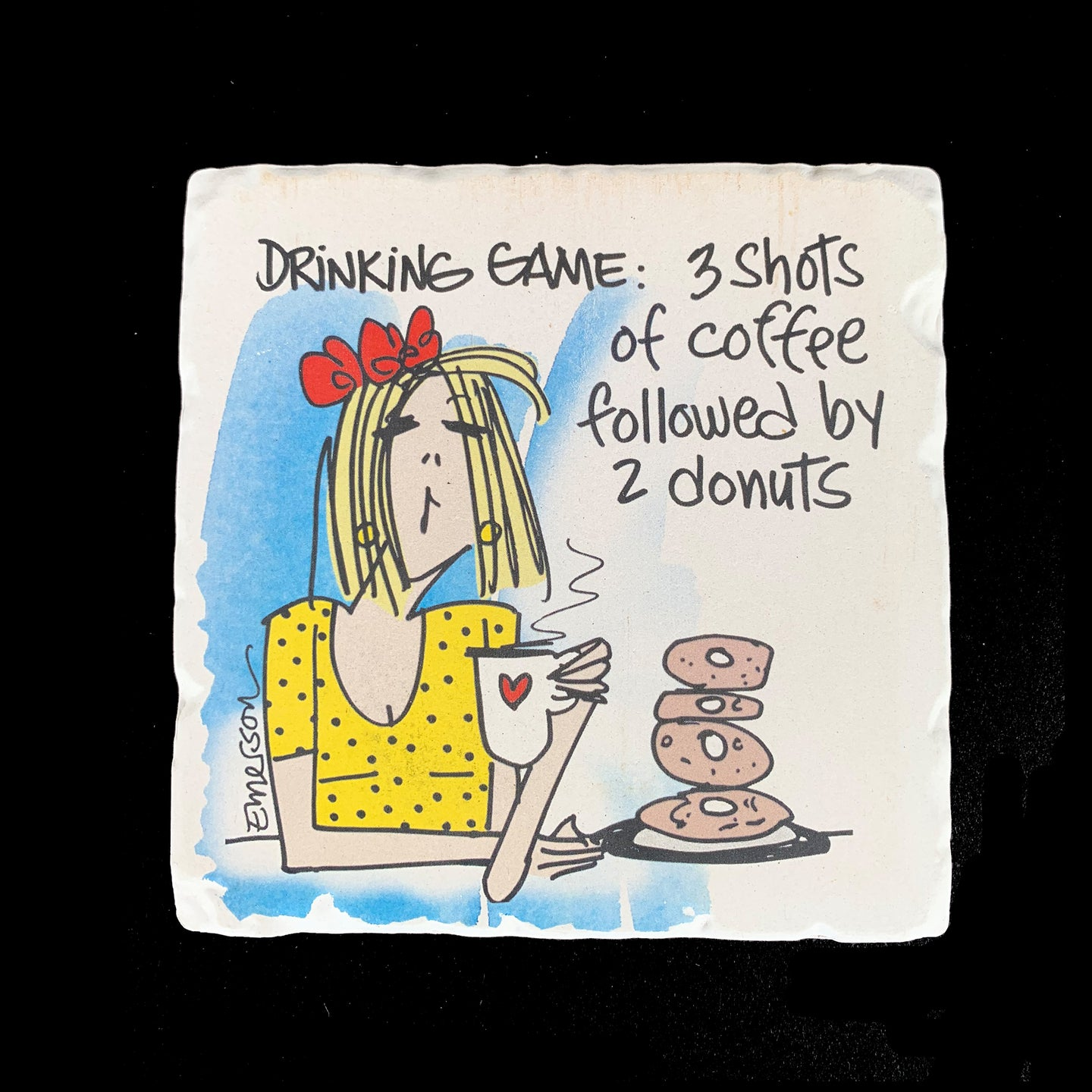 Drinking Game: 3 Shots of Coffee Followed by 2 Donuts - Coaster