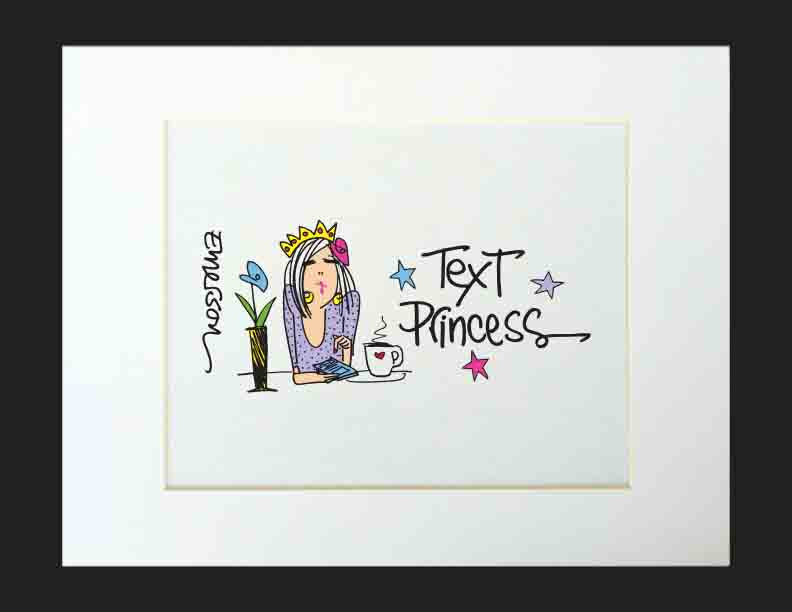 Text Princess Matted Print