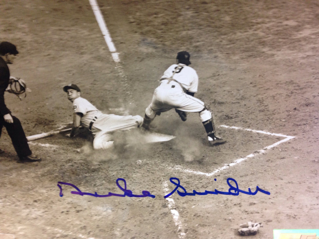 Duke Snider Autographed 8x10 Photo (sliding into home)