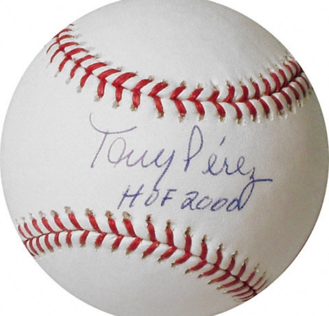 "Tony Perez Signed Baseball Inscribed ""HOF 2000"""