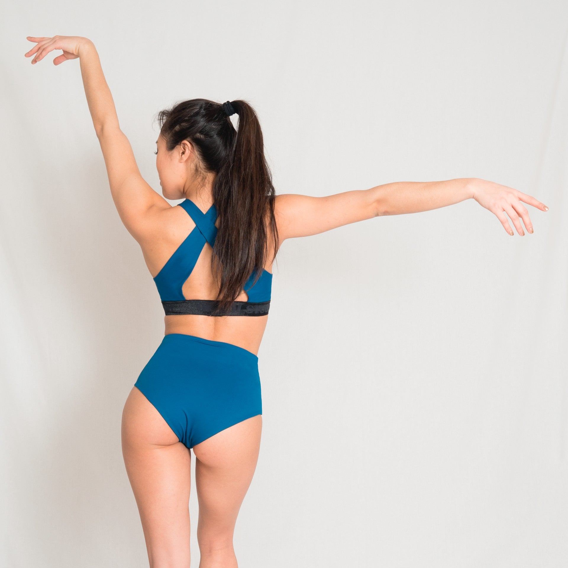 High waist teal shorts for aerial and pole dance