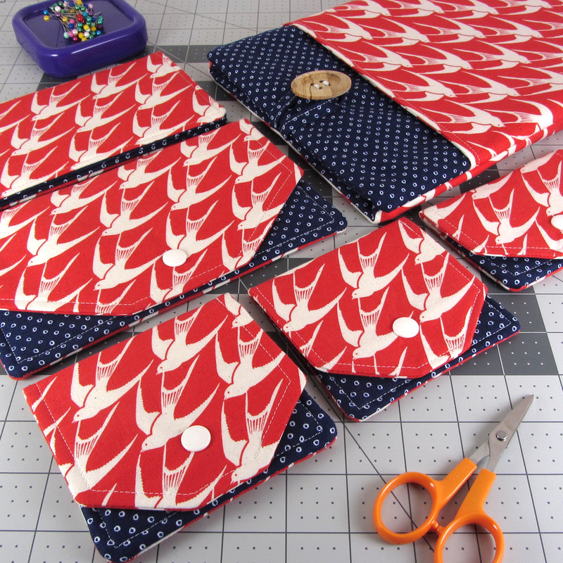 Cotton + Steel S.S Blue Bird: Flock in Red & Shibori In Navy