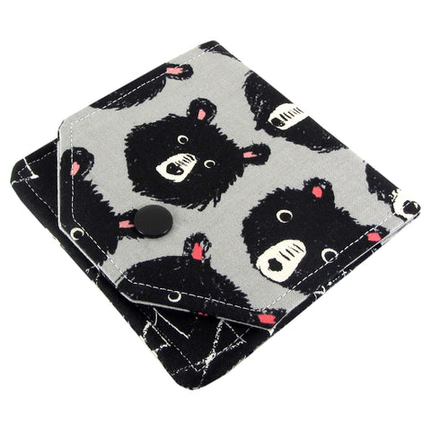 handmade bear fabric women's small wallet