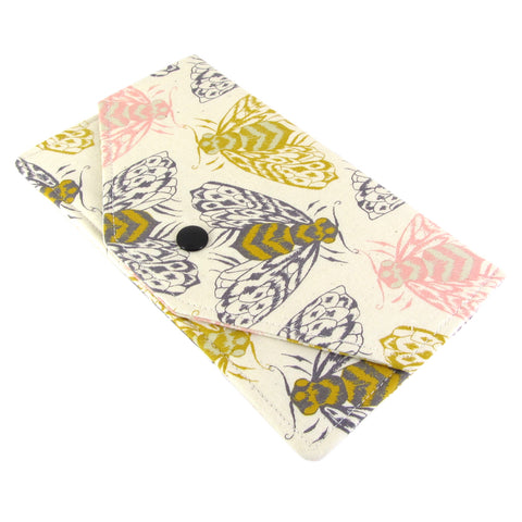 bee fabric women's cash envelope wallet cotton and steel