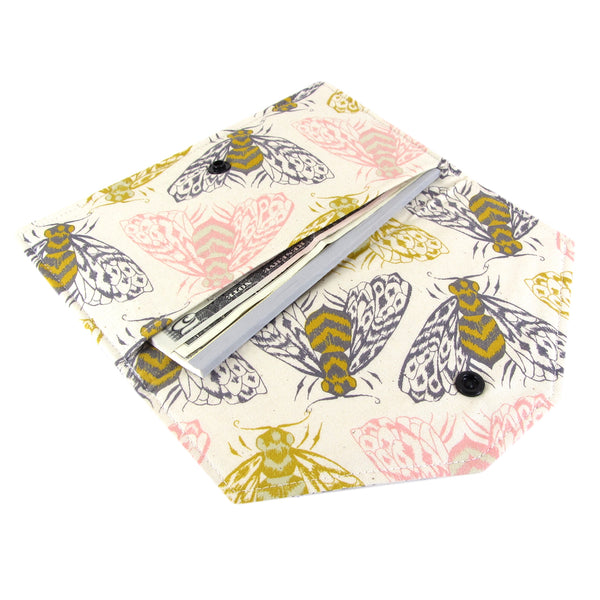handmade bee fabric clutch wallet cotton and steel