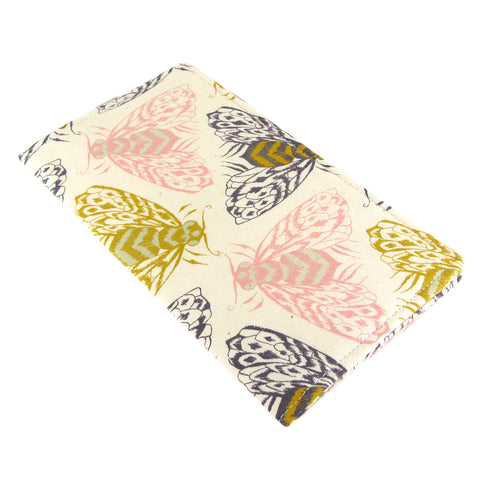 handmade bee fabric women's checkbook cover cotton and steel