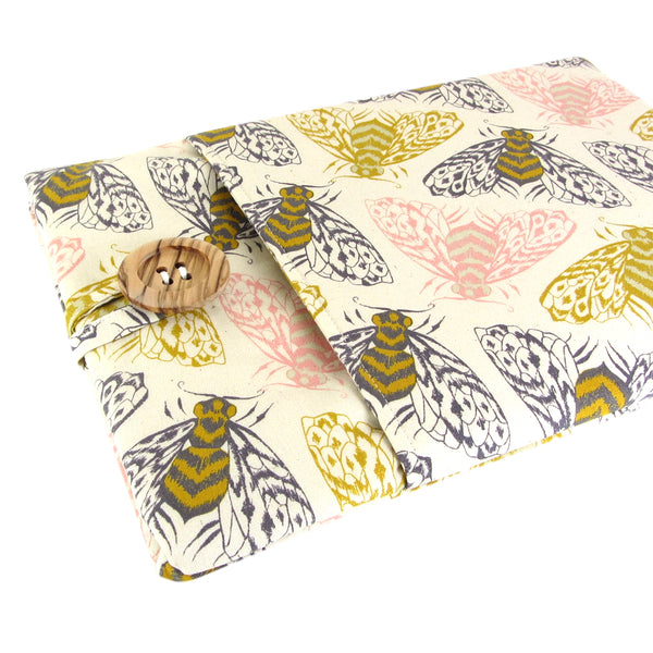 handmade bee fabric laptop sleeve cotton and steel