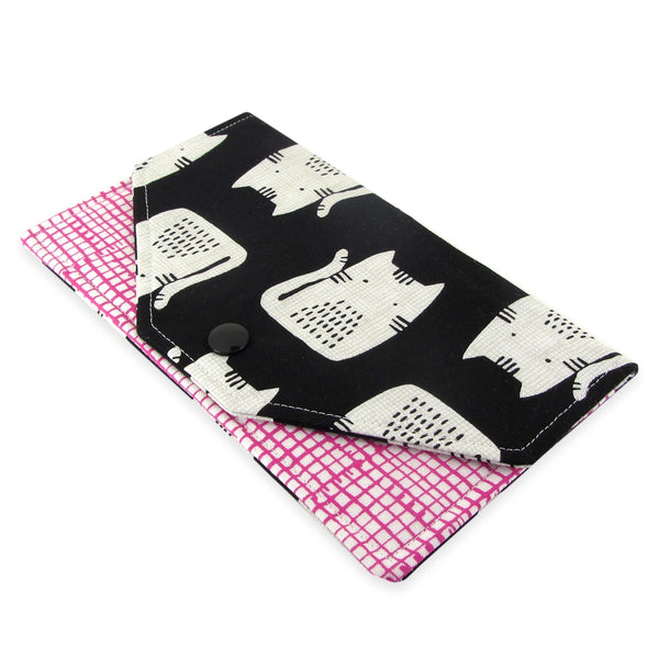 Handmade Cat Fabric Women's Cash Envelope Wallet