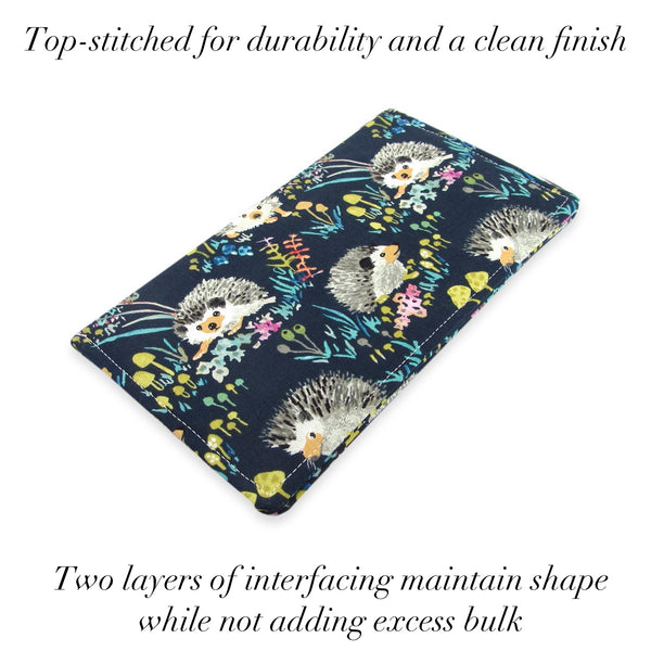 Handmade Blue Hedgehog Fabric Women's Checkbook Cover