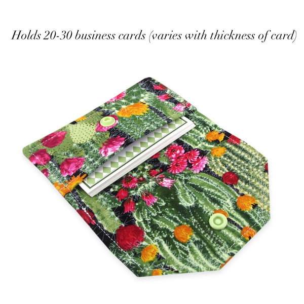 Handmade Cactus Succulent Fabric Women's Business Card Case