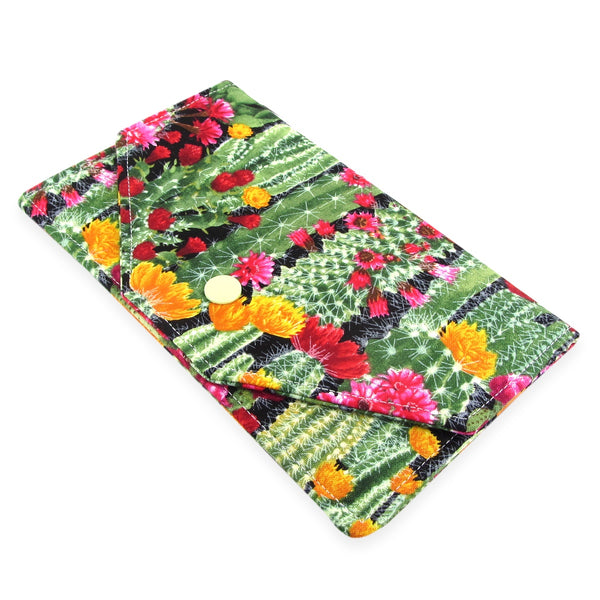 Handmade Cactus Succulent Fabric Women's Cash Envelope Wallet