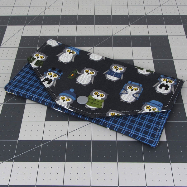 Handmade Camper Owl Fabric Women's Cash Envelope Wallet