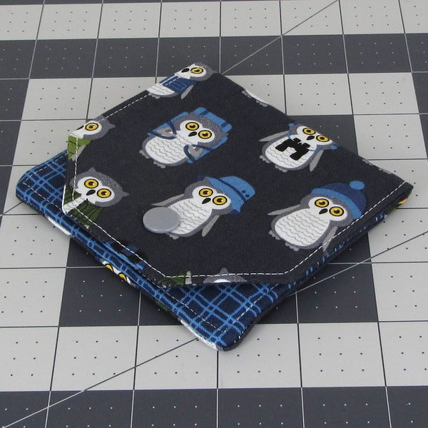 Handmade Camper Owl Fabric Women's Small Wallet