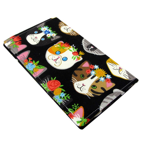 Handmade Cat Fabric Women's Checkbook Cover