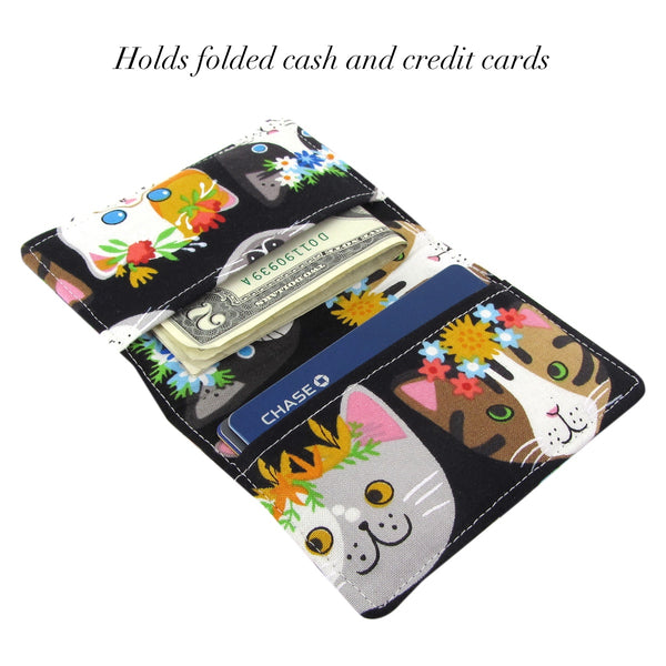 Handmade Cat Slim Women's Credit Card Wallet