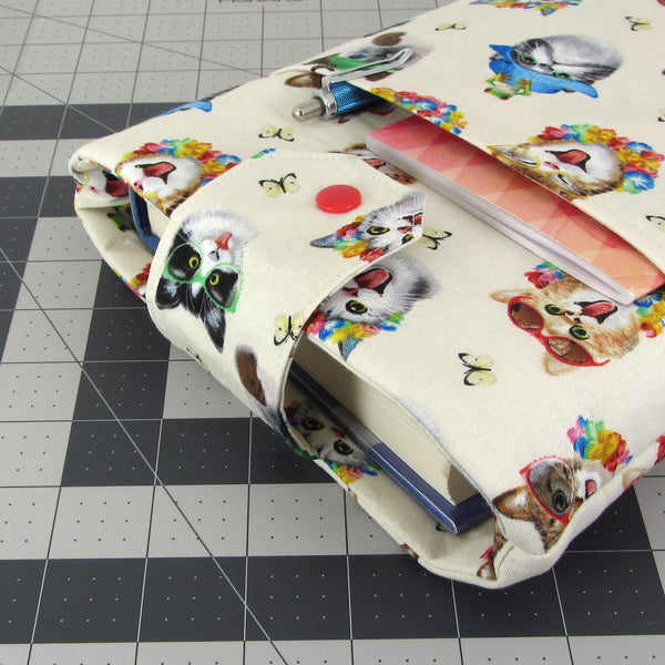 Handmade Cat Selfie Fabric Book Sleeve