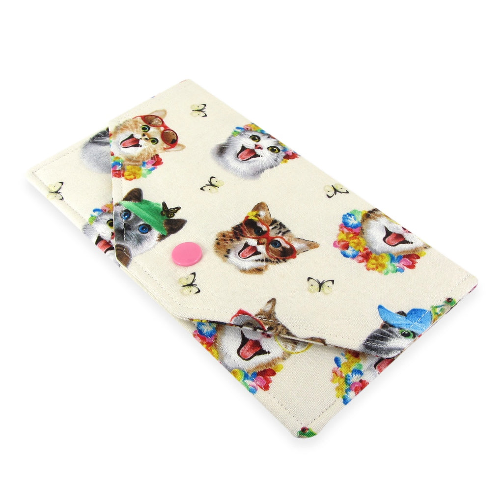 Handmade Cat Selfie Fabric Women's Cash Envelope Wallet
