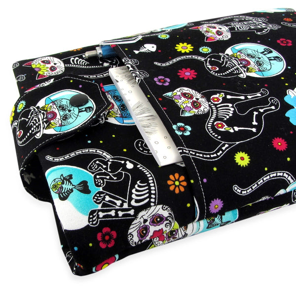 Handmade Day Of The Dead Cat Fabric Book Sleeve