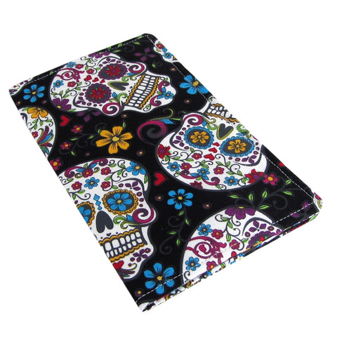 Handmade Sugar Skull Fabric Women's Checkbook Cover