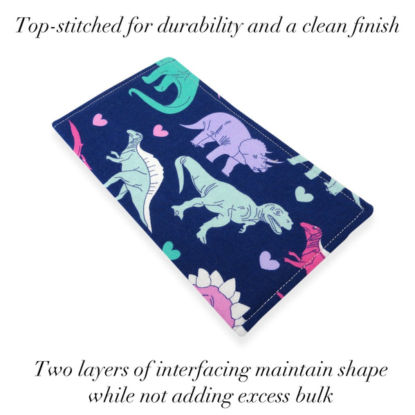 Handmade Dinosaur Fabric Women's Checkbook Cover
