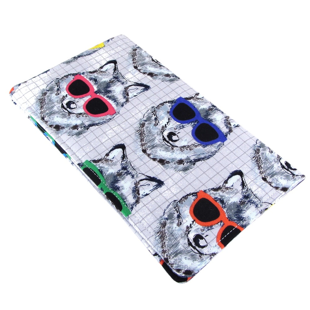 Handmade Dog In Sunglasses Fabric Women's Checkbook Cover