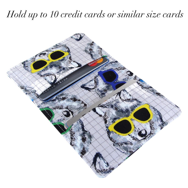 Handmade Dog In Sunglasses Fabric Slim Women's Credit Card Wallet