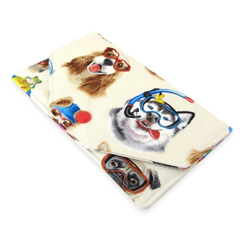 Handmade Dog Selfie Fabric Women's Cash Envelope Wallet