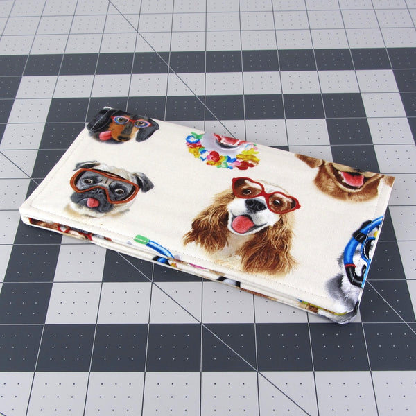 Handmade Dog Selfie Fabric Women's Checkbook Cover