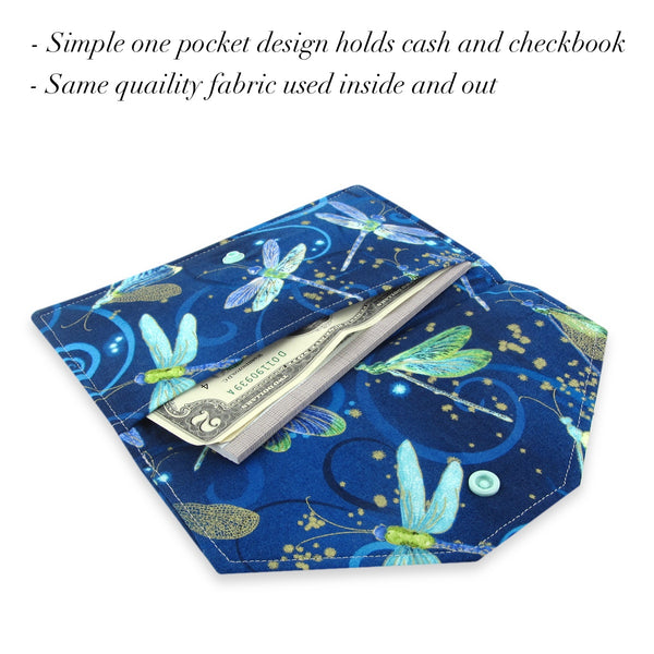 Handmade Dragonfly Fabric Women's Cash Envelope Wallet