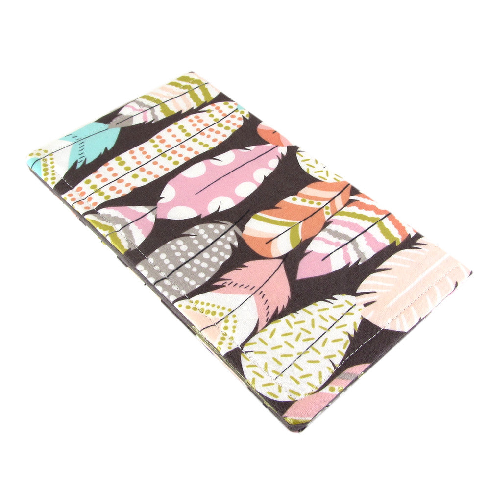 fabric feather and arrow women's checkbook cover