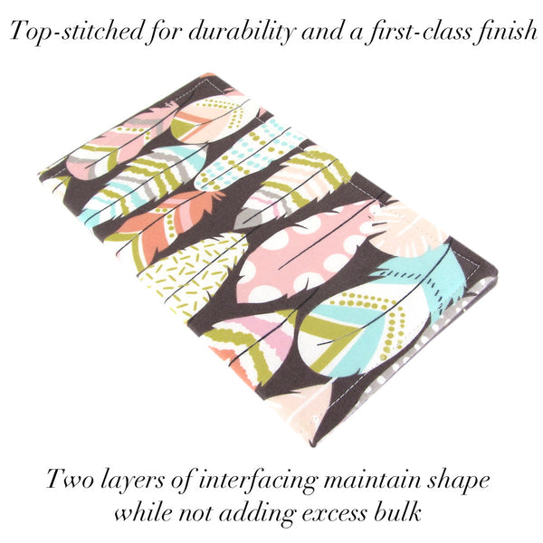 cute feather and arrow fabric checkbook cover