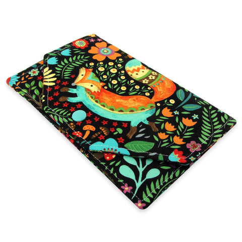 Handmade Whimsical Forest Creatures Fabric Women's Clutch Wallet