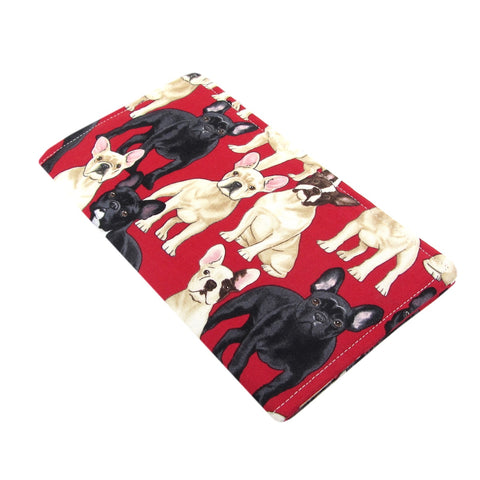 Handmade French Bulldog Dog Fabric Women's Checkbook Cover