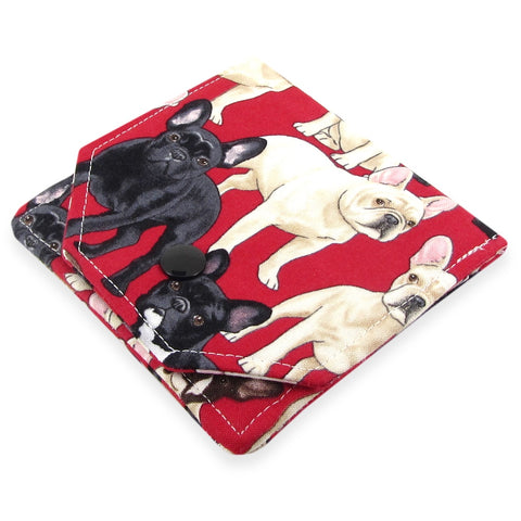Handmade French Bulldog Dog Fabric Women's Small Wallet
