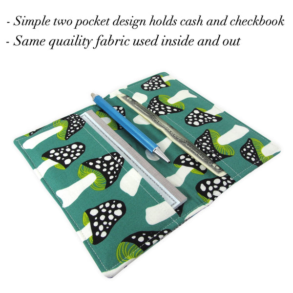 Handmade Gnome Mushroom Fabric Women's Checkbook Cover