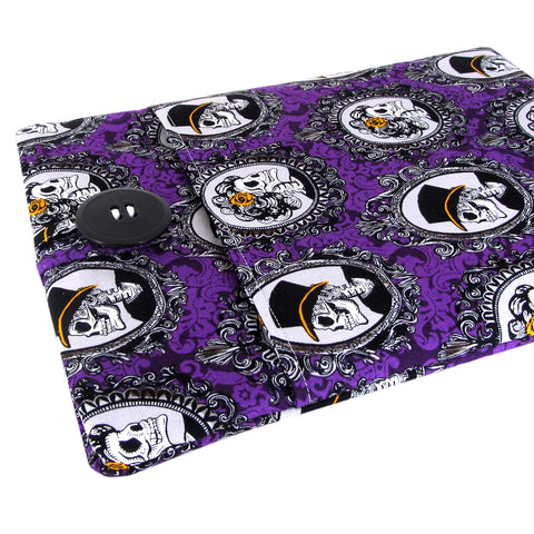 purple skull laptop sleeve